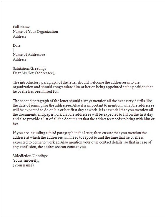 Business Appointment Letter Sample Image Collections Letter