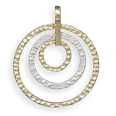 14K Gold Plated Sterling Silver Two-Tone Circle Pendant