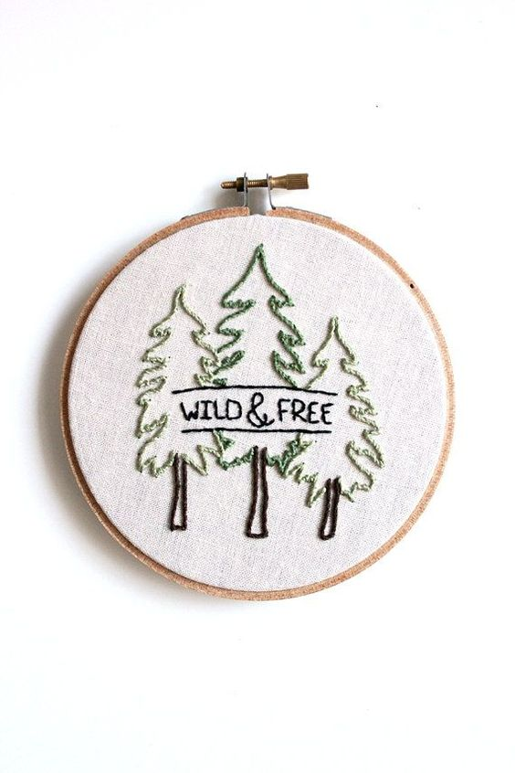 Wild & Free Embroidery Hoop Art . Wall Decoration by GulushThreads