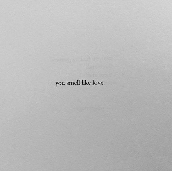 """You smell like love"" -Nayyirah Waheed:"