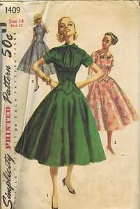VINTAGE ONE PIECE DRESS SEWING PATTERN 1950s SIMPLICITY 1409 SZ 16 HIP 37 UNCUT | eBay