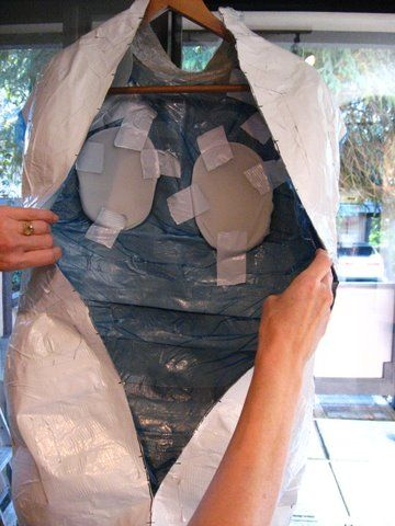 Duct Tape Dress form the right way - uses padding in bust afterward for better shape retention.