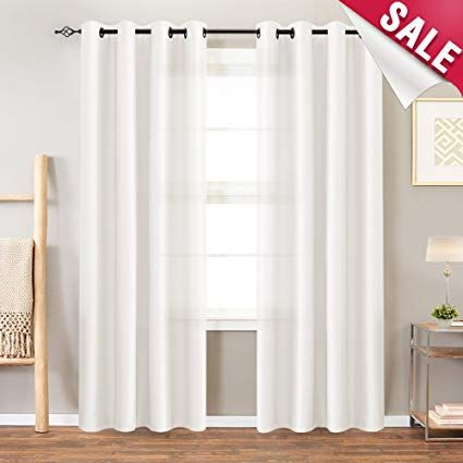 White Faux Silk Curtains Bedroom 95 Inches Long Grommet Top
