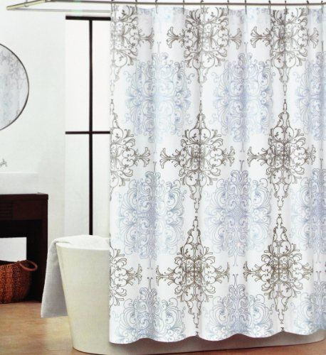 This is my bathroom Shower Curtain Bought it for  14 99 at Homegoods Tahari  Blue and Gray Medallions  Milan Scroll  Shower Curtain Tahari. This is my bathroom Shower Curtain Bought it for  14 99 at