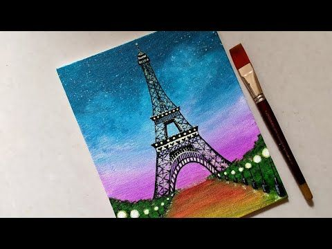 Easy Eiffel Tower Scenery Drawing Painting For Beginners Step By Step Acrylic Painting Tutoria Eiffel Tower Painting Eiffel Tower Drawing Eiffel Tower Art