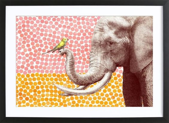 Elephant and Bird als Gerahmtes Poster von Eric Fan | JUNIQE