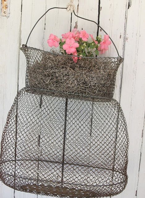 Flower wire baskets and cabin on pinterest for Fish wire basket