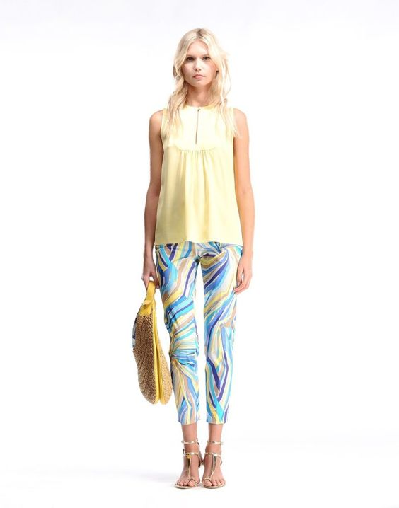EMILIO PUCCI COTTON / ELASTANE PRINTED PANTS,IT 40, US 4, New $950 #EmilioPucci #DressPants
