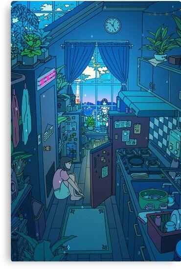Blue Kitchen Canvas Print By Seerstuff Anime Scenery Anime Scenery Wallpaper Scenery Wallpaper