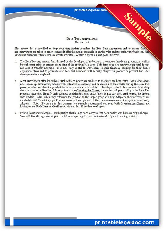 Free Printable Beta Test Agreement Legal Forms Free Printable - investors agreement template