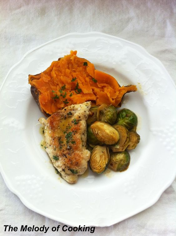 Herbs de Provence Chicken with Honey Mustard Brussel Sprouts and Simple Sweet Potato