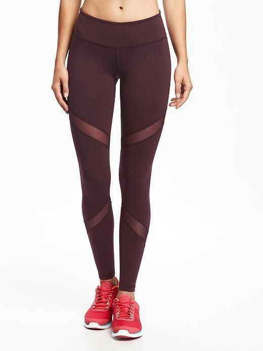 Mesh-Trim Compression Leggings for Women Fickleberry Old Navy ...