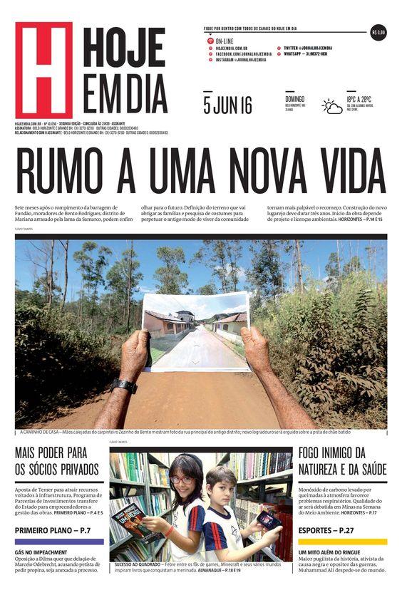 Capa do dia 05/06/2016 #HojeEmDia #Jornal #Notícias #News #Newspaper