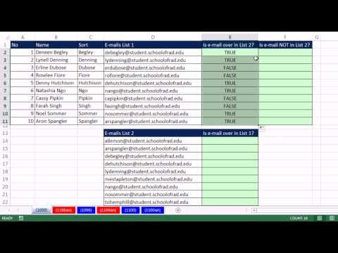 Excel Magic Trick 1098 Compare Two E Mail Lists With Formula E Mail In List Not In List Youtube Magic Tricks Email List Excel