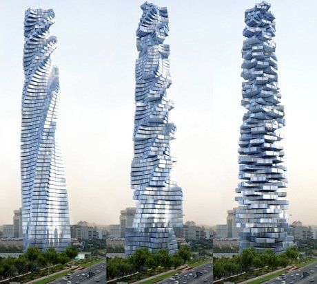 Każde piętro wieżowca Dynamic Tower może niezależnie obracać się dookoła własnej osi. Włoski architekt David Fisher ma ambitne plany wybudowania takich ruchomych wieżowców w kilku miastach świata, a budowa dwóch pierwszych w Dubaju   Wieżowiec w Dubaju ma mieć 80 pięter, ok. 420 metrów
