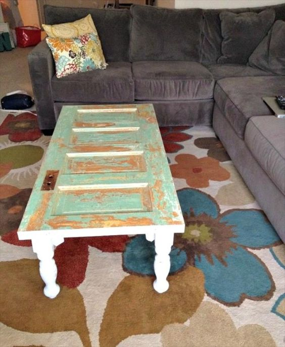 Diy old doors turn into coffee table glasses coffee and for How to turn an old door into a table