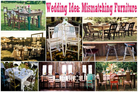 Wedding Ideas: Mismatched Seating for Wedding Receptions