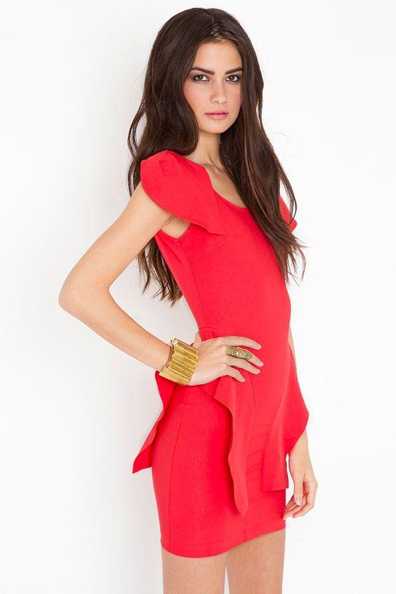Victoria Peplum Dress - Poppy