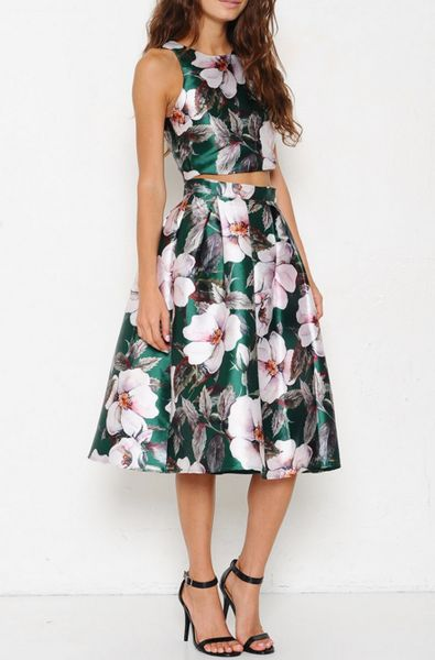 Two Piece Floral Print Dress - The Lace Gypsy