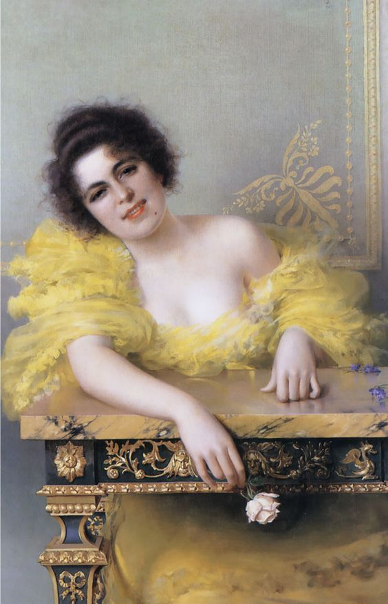 """Vittorio Matteo Corcos (1859-1933) Portrait of a Young Woman Oil on canvas 1896 104.1 x 68.6 cm (40¾"""" x 27"""") Private collection:"""