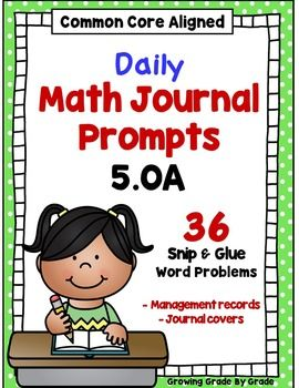 Daily Math Journal Prompts 5.OA Snip-and-Glue by Growing Grade by Grade | Teachers Pay Teachers