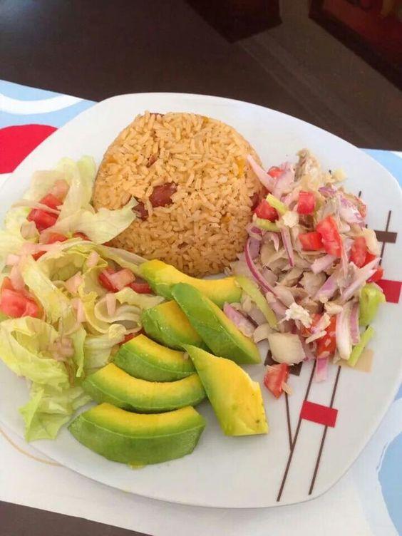 #arroz#aguacate#bacalao#ensalada#yummi