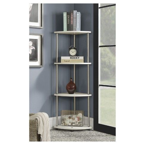 Designs2go 4 Tier Corner Shelf White 48 Johar Furniture
