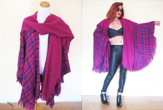 Vintage 70's 80's oversized maroon purple shocking by RebelCloset