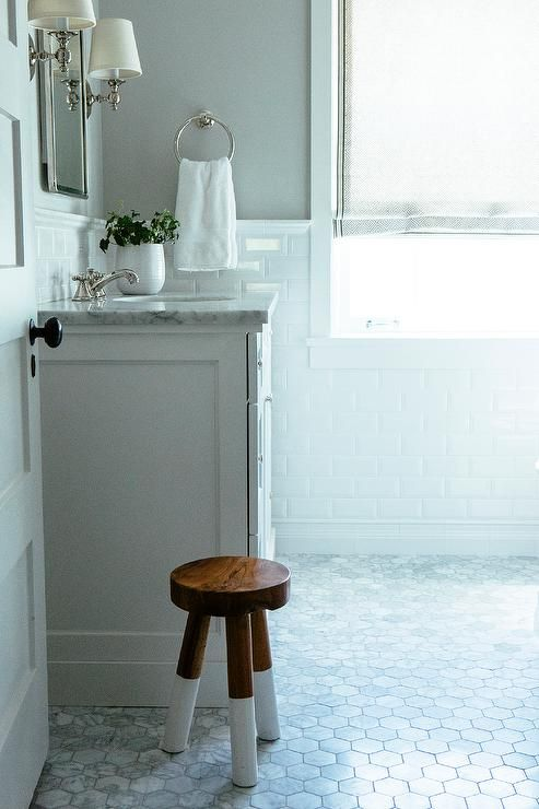 White And Gray Bathroom Features Gray Paint On Upper Walls