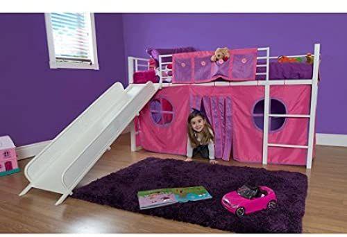 Best Seller Eshion Girls Twin Bunk Loft Bed Fun Slide Princess Castle Curtain Set White Pink Online In 2020 Kid Beds Kids Bunk Beds Bunk Beds With Stairs