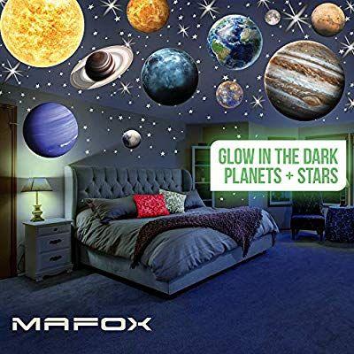 Amazon Com Mafox Glow In The Dark Planets Bright Solar System Wall Stickers Sun Earth Mars And So On 9 Glowing Cei In 2020 Dark Planet Dark Room Decor Sun And Earth