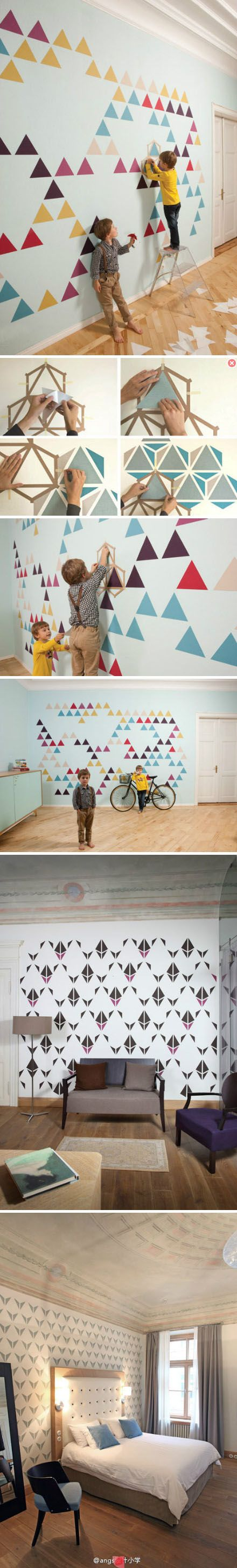 triangles de peinture sur un mur mur faire pinterest motif de triangle graphisme et. Black Bedroom Furniture Sets. Home Design Ideas