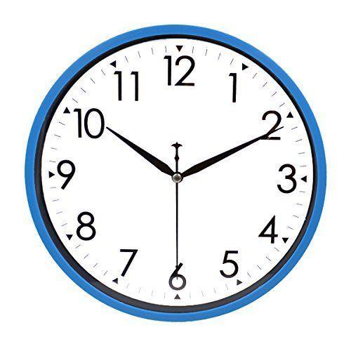 Hippih 10 Silent Quartz Decorative Wall Clock With Glass Cover Non Ticking Digital Blue Clock Wall Decor Wall Clock Blue Wall Clocks