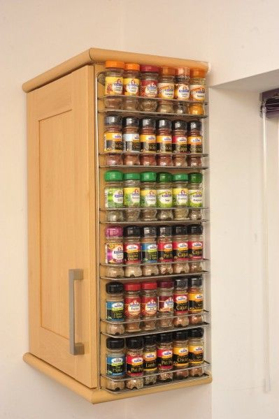 spice rack attacked to side of cupboard