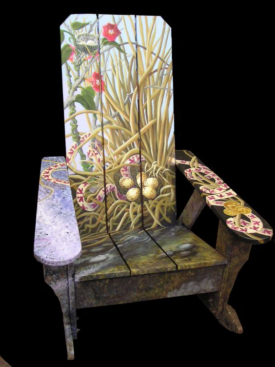 This was the Rocking Chair that I made for the Brandon Artists Guild fundraiser in 2005. When you sit down you're sitting in a stream! It was fun to paint and went to a lovely home! DIY