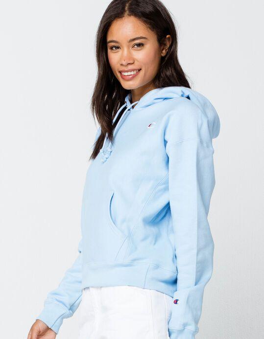 Champion Reverse Weave Womens Light Blue Hoodie Ltblu 359958221 In 2020 Light Blue Hoodie Blue Hoodie Light Blue Sweatshirt