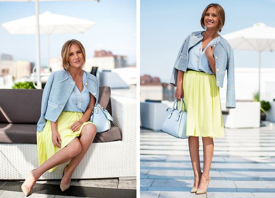 Get this look: http://lb.nu/look/7568634  More looks by Liria C.: http://lb.nu/liria  Items in this look:  Casadei Pumps, Reserved Skirt, Zara Jacket, Zara Top, New Look Bag   #bretons #bretonstripes #pastels #ladylike