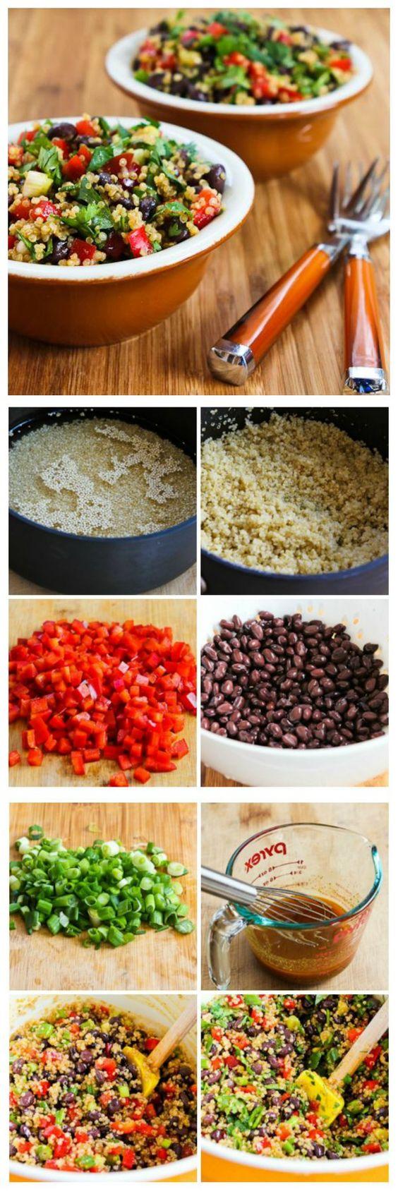 Quinoa Salad with Black Beans, Red Bell Pepper, and Cilantro | Quinoa ...