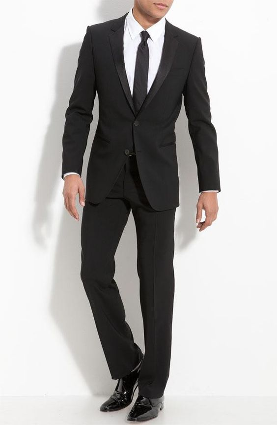 addec26ae Free shipping and returns on HUGO 'Aikin Hollo' Trim Fit Wool Tuxedo at Cut  trim for a modern appearane, this stretch-wool tux features a fully lined  jacket ...