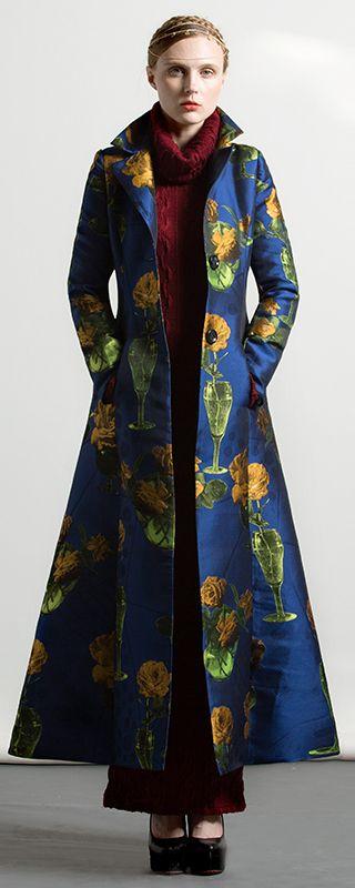 $247.00-autumn cotton blended blue floral thick large hem maxi trench coat #coat#trechcoat#maxicoat#omychic