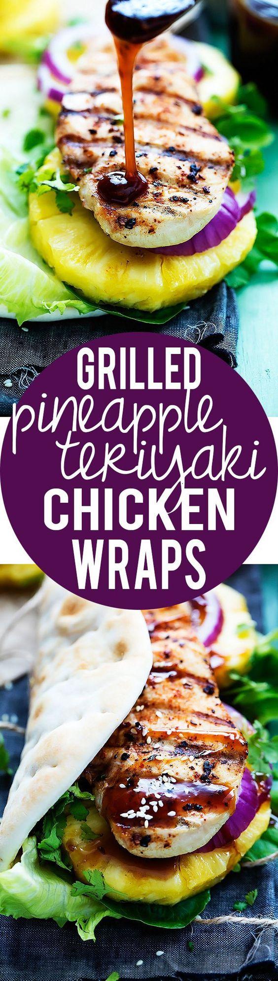 Grilled Pineapple Chicken Teriyaki Wraps | Creme de la Crumb