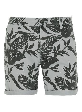 Grey Leaf Pattern Shorts by Topman, $60