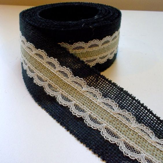 Black Burlap ribbon with Sage center and Ivory by HouseofBurlap