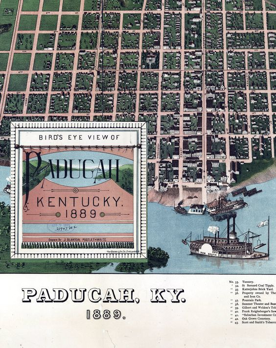 Bird's eye view of Paducah, Kentucky 1889. Drawn by J. Blanton, Postlethwaite.    Deeply Zoomable:  http://zoom.it/WBVm