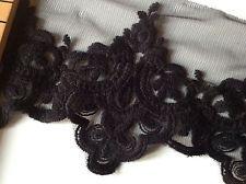"""New jet black in fashion pétoncle dentelle tissu 4""""10cm garniture guipure robe de soirée"""