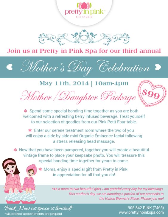 3rd annual Mother's Day Celebration at Pretty in Pink Spa. #Oakville #ShopLocal