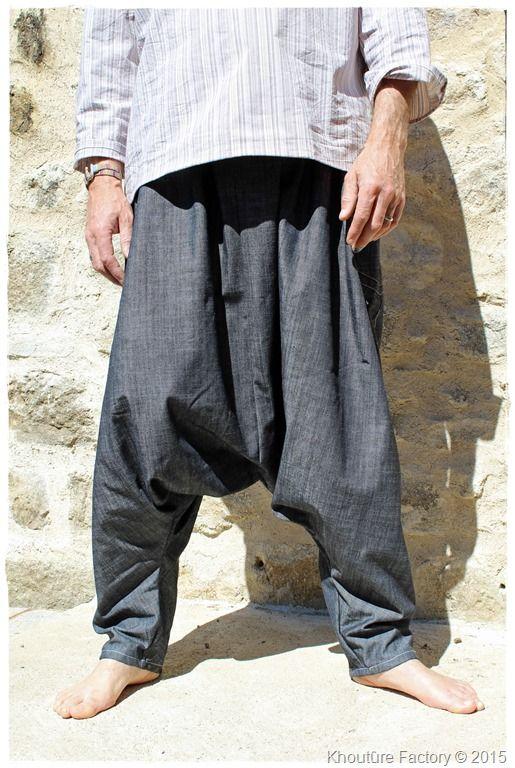 sarouel baggy homme en jeans
