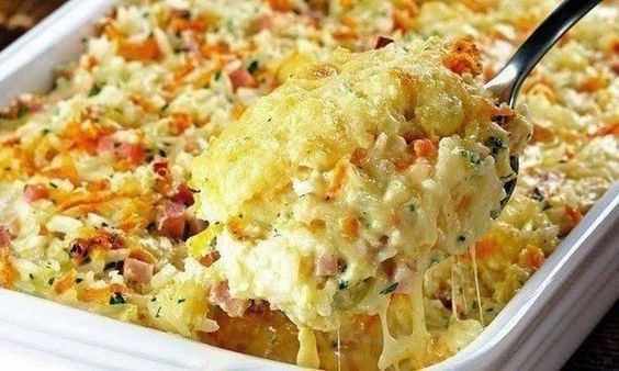 Rice, Ham And Cheese Casserole Recipe ~ Food Network Recipes - Bake at 400 degrees F.