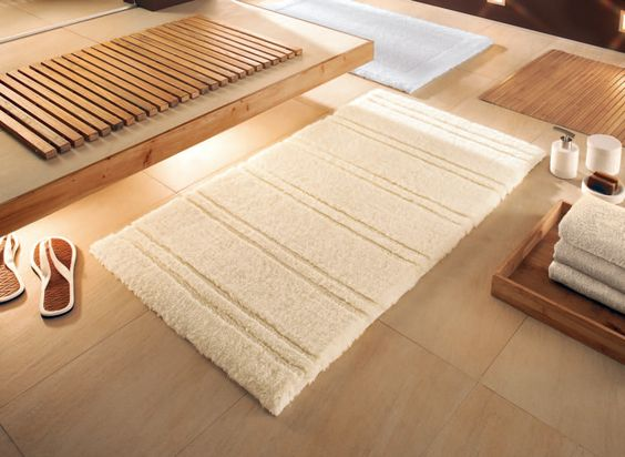 Nature tones will bring relax into your bathroom. The beautiful cotton bath rug is called Sahara along with coordinated bath accessories from our Sahara collection....we have something that will work in your space!Please contact us a www.vitafutura.com with questions about any of the items in this picture.