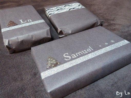 Paquets cadeaux paillettes